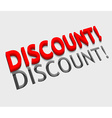3d discount text design vector image