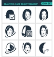 Set of modern icons Beautiful face beauty vector image