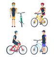 bicyclist smiling poster set vector image