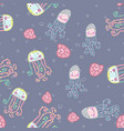 blue cartoon seamless pattern with cute jellyfish vector image