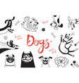 card with joyful dogs and happy puppies vector image