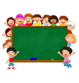 Crowd children with chalkboard vector image