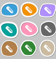 pencil icon symbols Multicolored paper stickers vector image