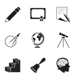 School set icons in black style Big collection of vector image
