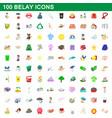 100 belay icons set cartoon style vector image