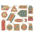 craft paper tag shop clothes sale stiker cardboard vector image
