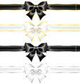 White and black bows with gold and silver edging vector image vector image