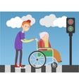 Kind boy helps old lady in wheelchair vector image