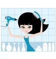 pretty girl dries hair vector image vector image