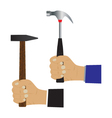 Hand with a hammer vector image