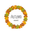 square autumn banner leaves lined in a circle vector image