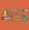 woodworker workplace top view banner vector image