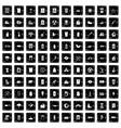 100 ecology icons set grunge style vector image