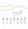 birthday card with flowers and bunting flags vector image