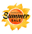 summer sale banner with watercolor sun background vector image