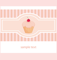 Hand drawn cupcake with pink strips vector image vector image