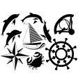 sea symbols vector image vector image