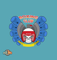 Boxing labels Skull in a boxing helmet with gloves vector image