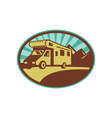 Camper van travel with mountains and sunburst vector image