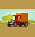 happy driver rides in retro truck delivery vector image