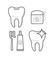 icons of toothbrush toothpaste and floss vector image