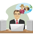 mature businessman dreams about vacation vector image