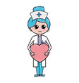 professional nurse with heart in tha hands vector image
