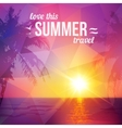 Purple triangles tropical sunset with palms vector image