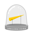 Unicorn horn in Glass bell Fairy rainbow artifact vector image