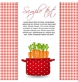 Red pot with carrots Organic diet healthy food vector image vector image