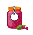 Sweet Raspberry Pink Jam Glass Jar Filled With vector image