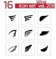 black wing icons set vector image vector image