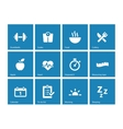 Fitness icons on blue background vector image