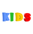 Text KIDS of colorful cartoon characters vector image