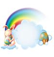 A bunny hugging an easter egg near the rainbow vector image
