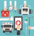 ambulance medical online design flat vector image