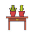 decorative cactus in a pot vector image