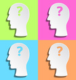 Flat mans head with question mark inside vector image