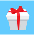gift box icon red bow and ribbon isolated on blue vector image