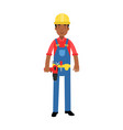 male construction worker character in overalls vector image