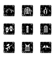 Paintball club icons set grunge style vector image