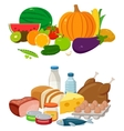 Set of cartoon food and drinks for restaurant or vector image