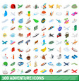 100 adventure icons set isometric 3d style vector image