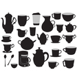set of coffee pots and cups vector image