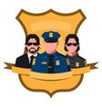 flat avatar of police team vector image