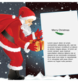 christmas background with santa holding gift vector image vector image