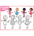 Coloring page for girls Four young ladies in vector image
