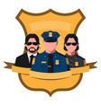 flat avatar of police team vector image