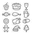 Food And Drink Outline Icons Set For Christmas Day vector image