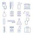 medical healthcare equipment thin line icon set vector image